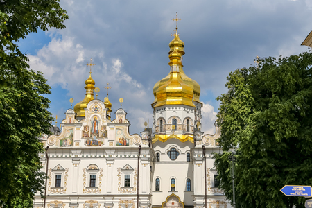 Facade of Dormition Cathedral in Kiev City, Ukraine