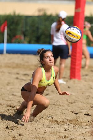 ISTANBUL, TURKEY - AUGUST 04, 2018: Participant in Pro Beach Tour Istanbul Stage