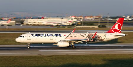 ISTANBUL, TURKEY - AUGUST 05, 2018: Turkish Airlines Airbus A321-231 (CN 7516) takes off from Istanbul Ataturk Airport. THY is the flag carrier of Turkey with 338 fleet size and 300 destinations