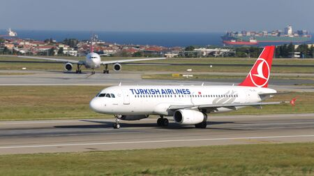 ISTANBUL, TURKEY - AUGUST 05, 2018: Turkish Airlines Airbus A320-232 (CN 3303) takes off from Istanbul Ataturk Airport. THY is the flag carrier of Turkey with 338 fleet size and 300 destinations
