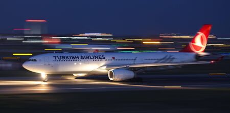 ISTANBUL, TURKEY - AUGUST 05, 2018: Turkish Airlines Airbus A330-343 (CN 1635) takes off from Istanbul Ataturk Airport. THY is the flag carrier of Turkey with 338 fleet size and 300 destinations Sajtókép