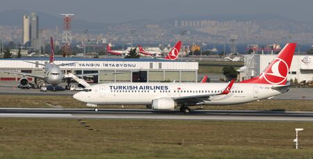 ISTANBUL, TURKEY - AUGUST 05, 2018: Turkish Airlines Boeing 737-8F2 (CN 42007) takes off from Istanbul Ataturk Airport. THY is the flag carrier of Turkey with 338 fleet size and 300 destinations