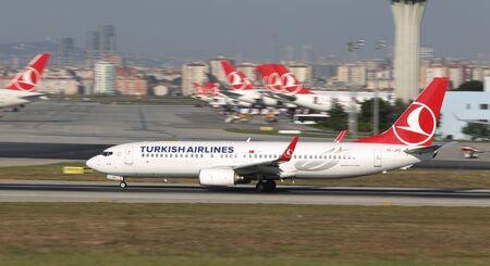 ISTANBUL, TURKEY - AUGUST 05, 2018: Turkish Airlines Boeing 737-8F2 (CN 35743) takes off from Istanbul Ataturk Airport. THY is the flag carrier of Turkey with 338 fleet size and 300 destinations