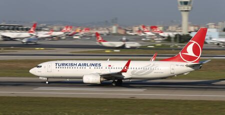 ISTANBUL, TURKEY - AUGUST 05, 2018: Turkish Airlines Boeing 737-8F2 (CN 40991) takes off from Istanbul Ataturk Airport. THY is the flag carrier of Turkey with 338 fleet size and 300 destinations Sajtókép