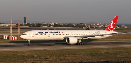ISTANBUL, TURKEY - AUGUST 05, 2018: Turkish Airlines Boeing 777-3F2ER (CN 44125) takes off from Istanbul Ataturk Airport. THY is the flag carrier of Turkey with 338 fleet size and 300 destinations Sajtókép