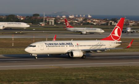ISTANBUL, TURKEY - AUGUST 05, 2018: Turkish Airlines Boeing 737-8F2 (CN 40981) takes off from Istanbul Ataturk Airport. THY is the flag carrier of Turkey with 338 fleet size and 300 destinations