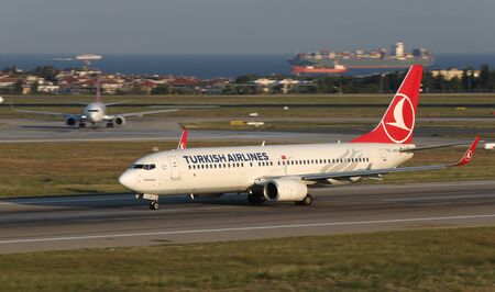 ISTANBUL, TURKEY - AUGUST 05, 2018: Turkish Airlines Boeing 737-8F2 (CN 40987) takes off from Istanbul Ataturk Airport. THY is the flag carrier of Turkey with 338 fleet size and 300 destinations