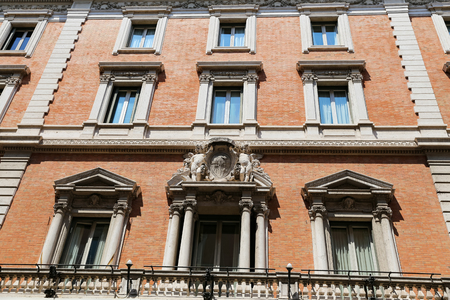 Facade of a Building in Rome City, Italy Editorial
