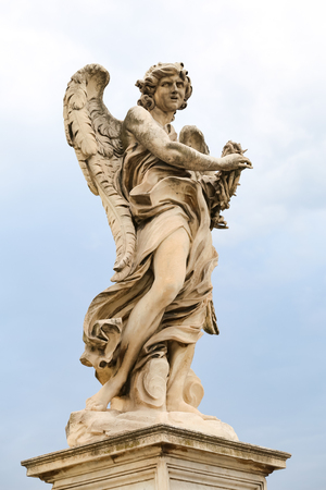 Angel with the Crown of Thorns Statue in Hadrian Bridge, Rome City, Italy