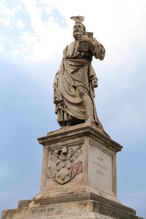 Statue in Hadrian Bridge, Rome City, Italy Stock Photo - 114977891
