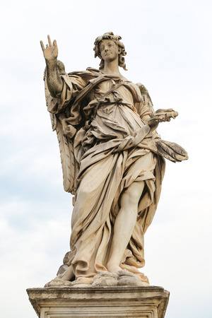 Angel with the Nails Statue in Hadrian Bridge, Rome City, Italy