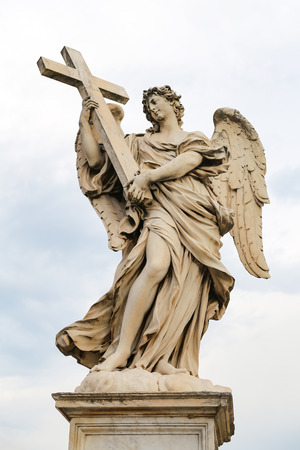 Angel with the Cross Statue in Hadrian Bridge, Rome City, Italy