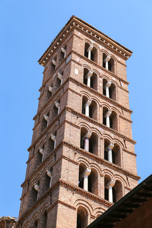 Bell Tower of San Silvestro in Capite Church in Rome City, Italy
