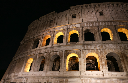 Colosseum at Night in Rome City, Italy