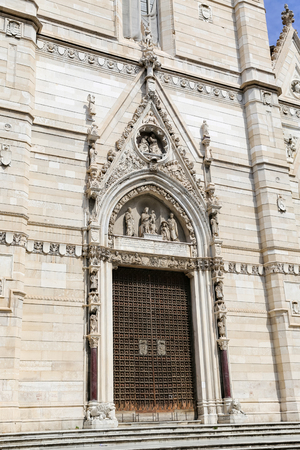Facade of Naples Cathedral in Naples City, Italy