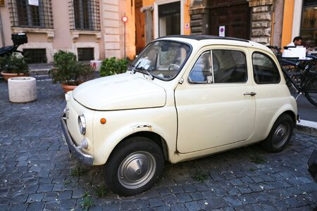 ROME, ITALY - AUGUST 21, 2018: Iconic Old Fiat 500 in Rome Streets
