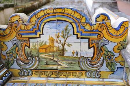 Cloister Garden of the Santa Chiara Monastery in Naples City, Italy 免版税图像