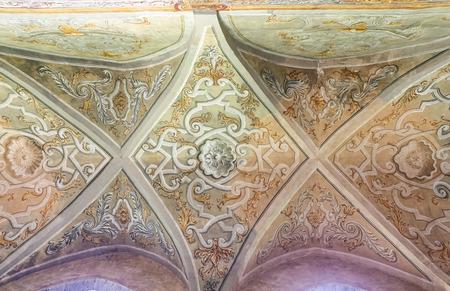 Cloister Garden of the Santa Chiara Monastery in Naples City, Italy Banco de Imagens