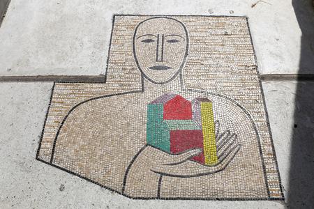 Mosaic in Church of Santa Maria Assunta in Positano, Naples City, Italy