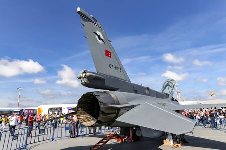 ISTANBUL, TURKEY - SEPTEMBER 23, 2018: Turkish Air Force General Dynamics F-16 Fighting Falcon in Teknofest Istanbul Aeronautics, Space and Technology Festival