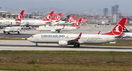 ISTANBUL, TURKEY - SEPTEMBER 30, 2018: Turkish Airlines Boeing 737-9F2ER (CN 40974) takes off from Istanbul Ataturk Airport. THY is the flag carrier of Turkey with 330 fleet size and 304 destinations