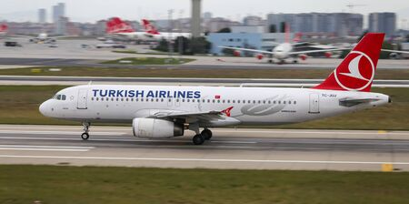 ISTANBUL, TURKEY - SEPTEMBER 30, 2018: Turkish Airlines Airbus A320-232 (CN 2522) takes off from Istanbul Ataturk Airport. THY is the flag carrier of Turkey with 330 fleet size and 304 destinations