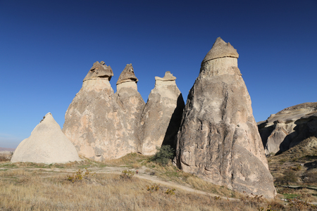 Rock Formations in Pasabag Monks Valley, Cappadocia, Nevsehir City, Turkey Imagens