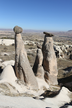 Three Beauties Fairy Chimneys in Urgup Town, Cappadocia, Nevsehir City, Turkey Imagens
