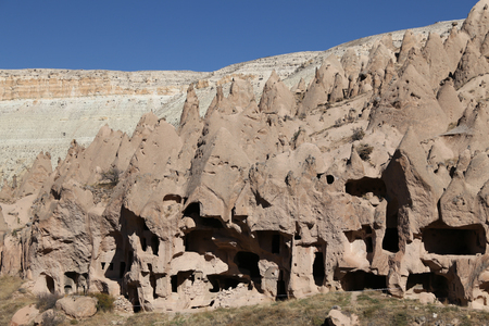 Rock Formations in Zelve Valley, Cappadocia, Nevsehir City, Turkey Imagens