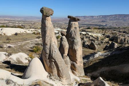 Three Beauties Fairy Chimneys in Urgup Town, Cappadocia, Nevsehir City, Turkey 写真素材