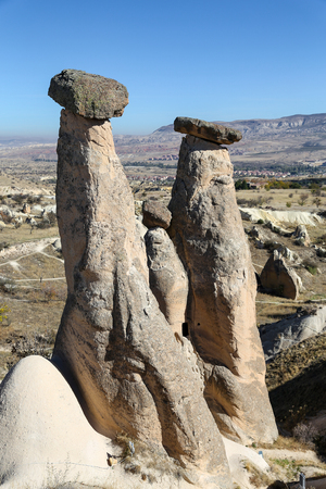Three Beauties Fairy Chimneys in Urgup Town, Cappadocia, Nevsehir City, Turkey Stock Photo