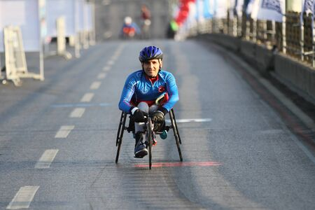 ISTANBUL, TURKEY - NOVEMBER 11, 2018: Paralympic athlete run in 40. Istanbul marathon which includes two continents in one race. Marathon starts on the Asian side and finishs in European Istanbul.