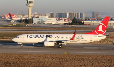 ISTANBUL, TURKEY - DECEMBER 08, 2018: Turkish Airlines Boeing 737-8F2 (CN 35743) takes off from Istanbul Ataturk Airport. THY is the flag carrier of Turkey with 330 fleet size and 304 destinations