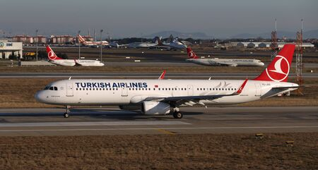 ISTANBUL, TURKEY - DECEMBER 08, 2018: Turkish Airlines Airbus A321-231 (CN 6563) takes off from Istanbul Ataturk Airport. THY is the flag carrier of Turkey with 330 fleet size and 304 destinations
