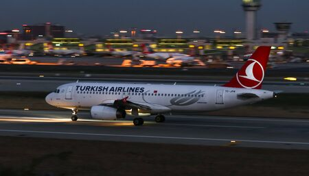ISTANBUL, TURKEY - DECEMBER 08, 2018: Turkish Airlines Airbus A320-232 (CN 3341) takes off from Istanbul Ataturk Airport. THY is the flag carrier of Turkey with 330 fleet size and 304 destinations Sajtókép