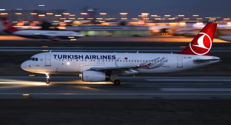 ISTANBUL, TURKEY - DECEMBER 08, 2018: Turkish Airlines Airbus A320-232 (CN 3257) takes off from Istanbul Ataturk Airport. THY is the flag carrier of Turkey with 330 fleet size and 304 destinations Sajtókép