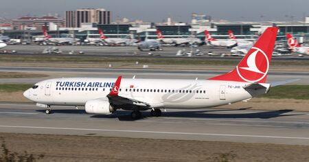 ISTANBUL, TURKEY - MARCH 17, 2019: Turkish Airlines Boeing 737-8F2 (CN 40989) takes off from Istanbul Ataturk Airport. THY is the flag carrier of Turkey with 339 fleet size and 304 destinations
