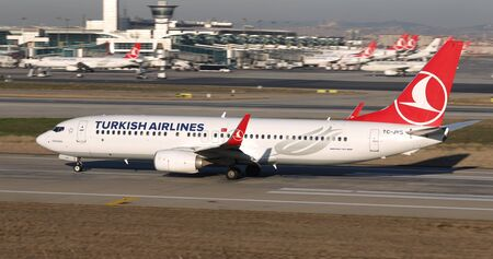 ISTANBUL, TURKEY - MARCH 17, 2019: Turkish Airlines Boeing 737-8F2 (CN 60021) takes off from Istanbul Ataturk Airport. THY is the flag carrier of Turkey with 339 fleet size and 304 destinations