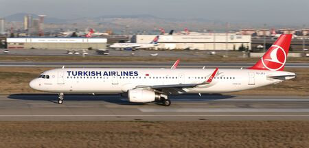 ISTANBUL, TURKEY - MARCH 17, 2019: Turkish Airlines Airbus A321-231 (CN 7139) takes off from Istanbul Ataturk Airport. THY is the flag carrier of Turkey with 339 fleet size and 304 destinations