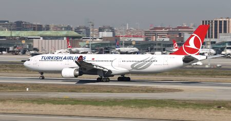 ISTANBUL, TURKEY - MARCH 17, 2019: Turkish Airlines Airbus A330-303 (CN 1514) takes off from Istanbul Ataturk Airport. THY is the flag carrier of Turkey with 339 fleet size and 304 destinations