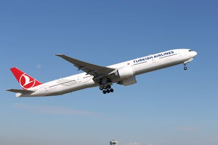 ISTANBUL, TURKEY - MARCH 17, 2019: Turkish Airlines Boeing 777-3F2ER (CN 44126) takes off Istanbul Ataturk Airport. THY is the flag carrier of Turkey with 339 fleet size and 304 destinations