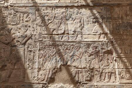 Egyptian Hieroglyphs in Luxor Temple, Luxor City, Egypt