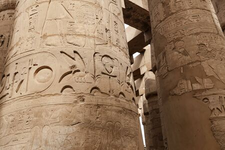 Columns in Hypostyle Hall of Karnak Temple, Luxor City, Egypt