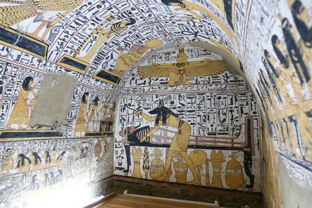 Scene from a Tomb in Deir el-Medina Village, Luxor City, Egypt 写真素材