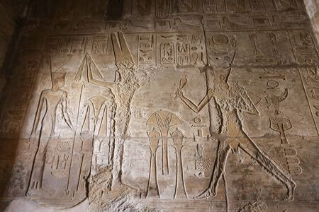 Egyptian hieroglyphs in Mortuary Temple of Seti I, Luxor City, Egypt