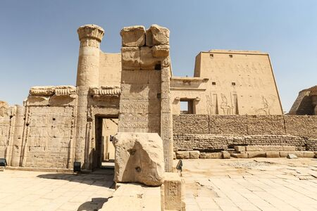 Front of Edfu Temple in Edfu Town, Egypt