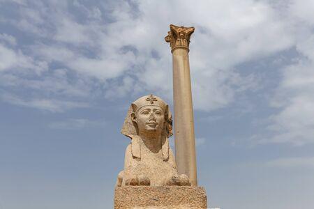 Pompey Pillar and Sphinx in Alexandria City, Egypt