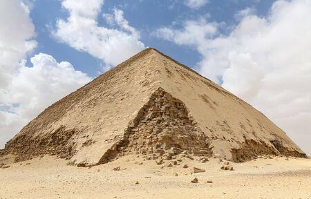 Bent Pyramid in Necropolis of Dahshur, Cairo City, Egypt Stock Photo