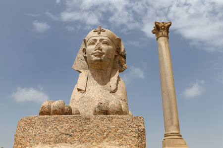 Pompey Pillar and Sphinx in Alexandria City, Egypt