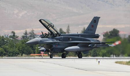 KONYA, TURKEY - JUNE 26, 2019: Turkish Air Force General Dynamics F-16D Fighting Falcon (CN NW-05) taxi in Konya Airport during Anatolian Eagle Air Force Exercise Editorial
